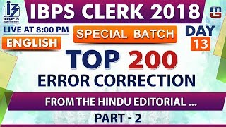 Download Top 200 | Error Correction | Part 2 | Day 13 | IBPS Clerk 2018 | English | Live at 8:00 pm Video