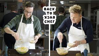 Download Gordon Ramsay Challenges Amateur Cook to Keep Up with Him | Back-to-Back Chef | Bon Appetit Video