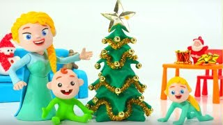 Download Frozen Elsa Makes A Christmas Tree Superhero Babies Play Doh Cartoons Stop Motion Animations Video