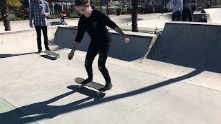 Download GIRL LEARNS HER FIRST SKATEBOARD TRICKS | FAKIE SHOVE Video