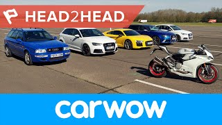 Download Mega Audi Drag Race: R8 v RS6 v RS3 v S1 v RS2 v Ducati 2017 | Head2Head Video