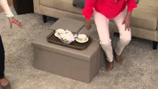 Download Faux Leather Folding 2-pc. Ottoman Set or Storage Bench by FHE on QVC Video