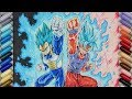 Download Drawing VEGETA SSj Blue MAX POWER & GOKU SSj Blue KAIOKEN x10 !!! | TolgArt Video