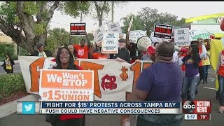 Download ″Fight for $15″ protests across Tampa Bay Video