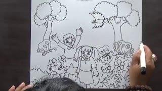 How To Draw And Colouring Tree Cara Menggambar Dan Mewarnai Pohon
