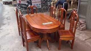 Download Bộ bàn ghế ăn gỗ gụ, mẫu Cát Khánh Hữu Dư,45 tr, mã số An18B8-27, đồ gỗ đức hiền Video