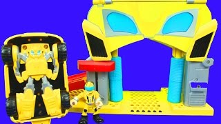 Download Play Skool Heroes Transformers Rescue Bots Unboxing Bumblebee Rescue Garage Chase the Police Bot Video