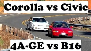 Download 4A-GE vs B16 Battle! Touge and acceleration tests Video