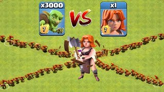 Download Who Will Win? 3000 Goblin VS 1 Valkyrie | Clash Of Clans | Troop Challenge Video