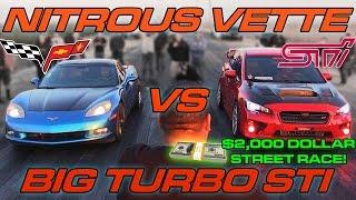Download WRX STi vs Nitrous Corvette - $2000 Street Race! Video