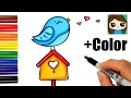 Download How to Draw + Color a Bird on a Birdhouse Easy Video