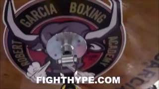 Download ROBERT GARCIA DOES SPINNING ELBOW TRICK ON SPEED BAG AS GOOD AS CANELO; STILL GOT IT Video
