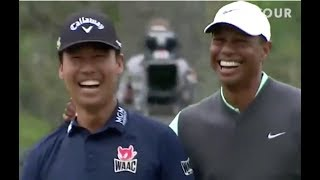 Download Tiger Wood & Kevin Na having fun at the 17th hole/Players Championnship Video