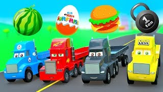 Download New Cars Cartoon for Kids Super Strong Truck Cup, Mack Truck Color Haulers w/ Fruits & Surpize Eggs Video