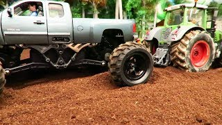 Download RC MONSTER TRUCK vs RC TRACTORS on the Farm / Rc Toys in action Video