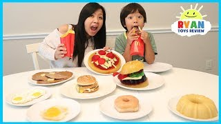 Download GUMMY FOOD VS REAL FOOD CHALLENGE McDonald's Fries Burgers and Breakfast Food family fun taste test Video
