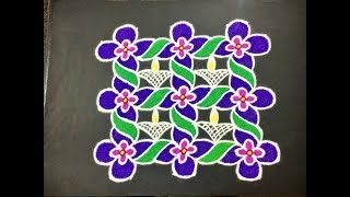 Download Simple Flower & Deepa Rangoli Design with Colours & Dots 8x8 for Beginners | Easy Daily Kolam Video