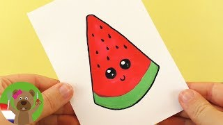 Download WATERMELOEN DIY KAWAII tekenen | schattige WATERMELOEN zelf maken - tekenen voor kinderen Video