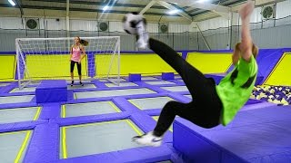 Download GIANT TRAMPOLINE PARK!!! FOOTBALL CHALLENGE Video