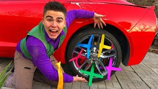 Download Mr. Joe on Corvette VS Boomerangs in Wheels Car VS Yellow Man in Funny Race for Kids Video