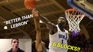Download Former D1 Hooper Reacts to ZION WILLIAMSON'S Highlights vs. Army - 27 Pts, 16 Reb, 6 BLOCKS Video