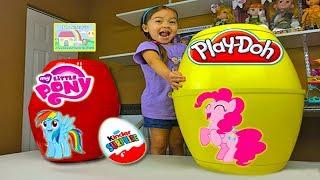 Download My Little Pony Biggest Surprise Eggs Ever! Play-Doh Surprise Toys & Kinder Egg Magic Inside! Video
