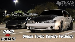 Download SINGLE TURBO COYOTE Swapped FOXBODY VS TT Huracan and 1300HP CORVETTE!!! Video