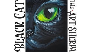 Download How to paint Acrylic for beginners An easy Black Cat on Canvas Video