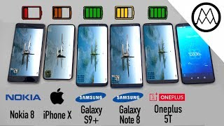 Download Samsung S9/ S9+ vs iPhone X vs Galaxy Note 8 Battery Life DRAIN TEST Video