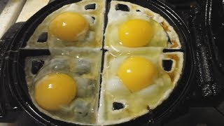 Download Eggs meet waffle machine Video