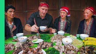 Download Potbelly Pig Cooked 7 Ways - Traditional cooking with Red Dao Family in Ta Phin Village, Vietnam! Video