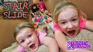 Download Ultimate Stair Slide Stuffed Animal Scavenger Hunt into HUGE Box Fort!! Video