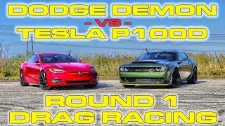 Download Dodge Demon Melts its Tires vs Tesla Model S P100D Ludicrous Drag Racing 1/4 Mile Video