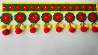 Download DIY - DOOR HANGING TORAN FROM OLD BANGLES || BEAUTIFUL DOOR HANGING TORAN FROM WOOLEN || DIY TOTAN Video
