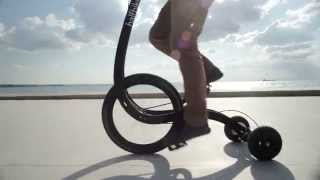 Download Halfbike II is a pedal-powered vehicle designed to improve the rider's balance Video