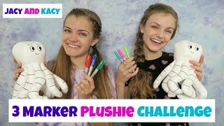 Download 3 Marker Plushie Challenge ~ Fun DIY Doodle Plushie ~ Jacy and Kacy Video