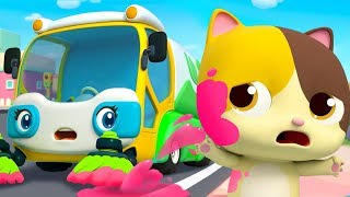 Download Street Sweeper's Colorful Water | Fire Truck, Police Car | Nursery Rhymes | Kids Songs | BabyBus Video