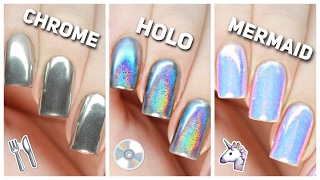 Download Apply Chrome, Holo, & Mermaid Nail Powders PERFECTLY! Video