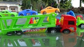 Download Baby Studio - mother truck transport cars passing lake | trucks toy Video