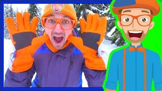 Download Snowmobile in the Snow with Blippi | Winter Outfit for Kids Video