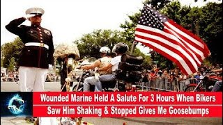 Download Wounded Marine Held A Salute For 3 Hours When Bikers Saw Him Shaking & Stopped Gives Me Goosebumps Video