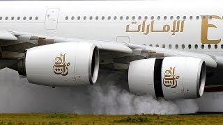 Download A380 FULL thrust reverse on a wet runway Emirates A6-EDS @ AMS Schiphol Video