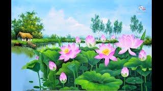 Download Tranh hoa sen, video tóm tắt hướng dẫn học viên trong khóa học vẽ tranh tường tại Hà Nội Video