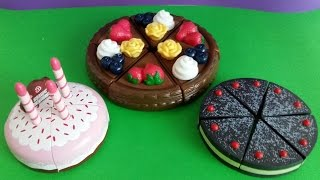 Download Toy velcro cutting Cakes toy food chocolate cake strawberry cream birthday cake toy video for babies Video