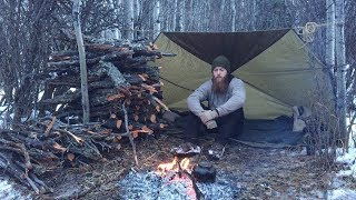 Download Solo Winter Backcountry Camping & Campfire Cooking Video