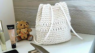 Download Mochila Bolsa Infantil de Crochê Com Barbante - Tutorial de Crochê - Crochet Backpack For Kids - DIY Video