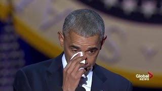 Download Obama tears up while speaking about wife, daughters during farewell speech Video