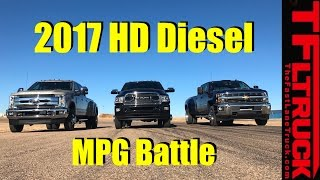Download 2017 Chevy HD vs Ford SD vs Ram HD Diesel 22,800 Lbs Towing MPG Review Video
