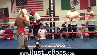 Download J'Leon Love (15-0, 8 KO's) sparring Andrew Tabiti (1-0, 1 KO) at the Mayweather Boxing Club Video