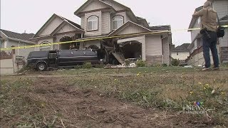 Download B.C. home at risk of collapse after limo smashes into it Video